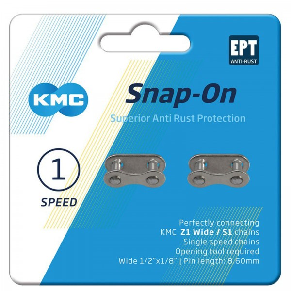 "KMC Kettenverschlussglied Snap-On 1/2x1/8"" 8,6mm AntiRost silber 2-er Pack"